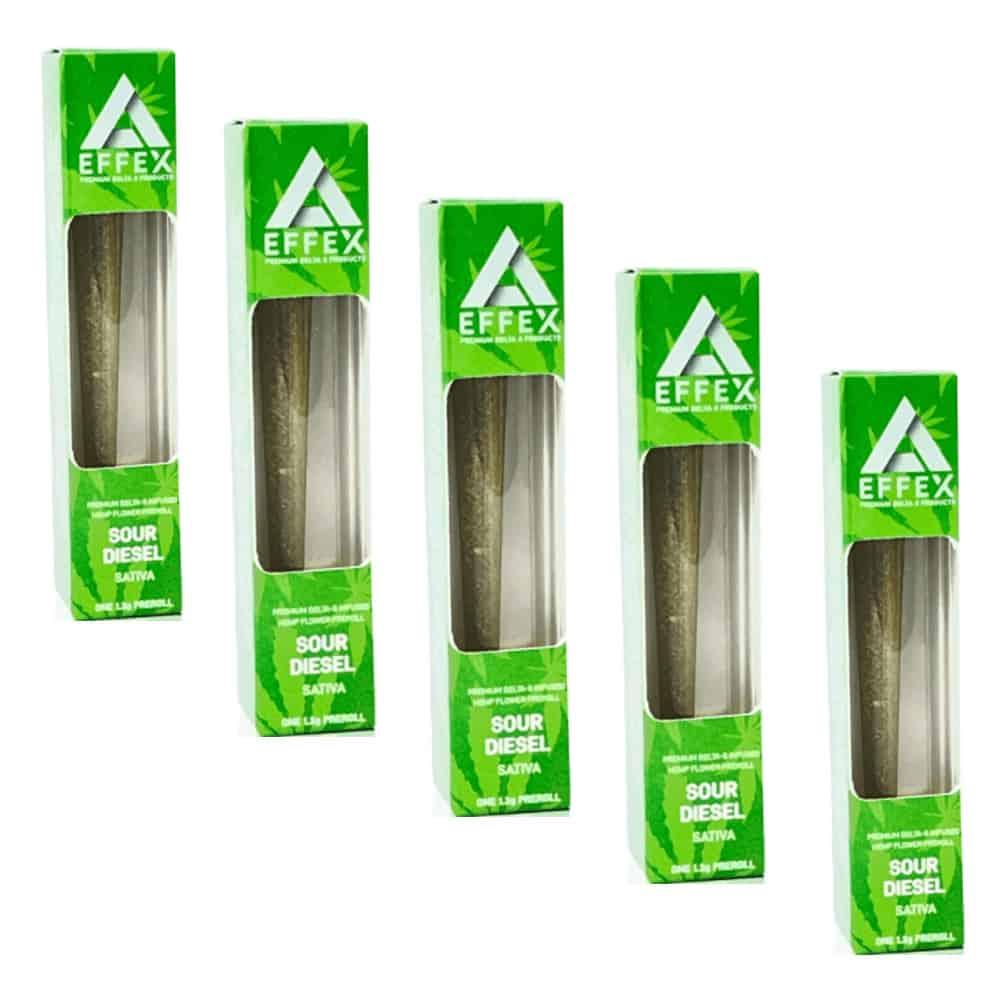 Delta Effex Sour Diesel Delta 8 THC Preroll 5 Pack